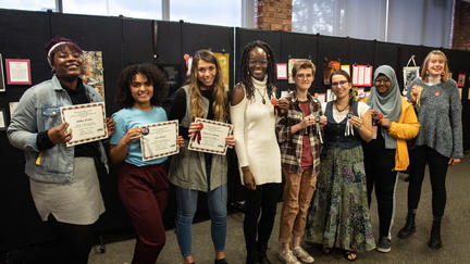 Student winners of the We All Belong exhibit