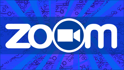 Blue background with the word Zoom
