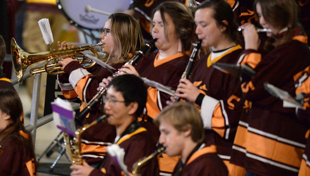 Freshman Hannah Giroux playing in UMD's Pep Band