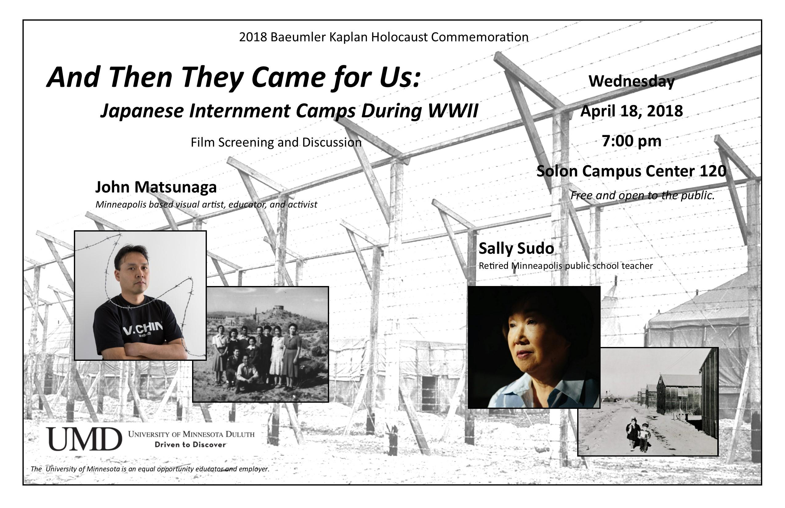 "Poster for ""And Then They Came For Us"" event"