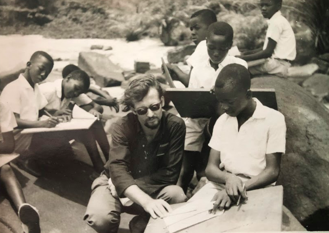 Johan and his students in Sierra Leone.