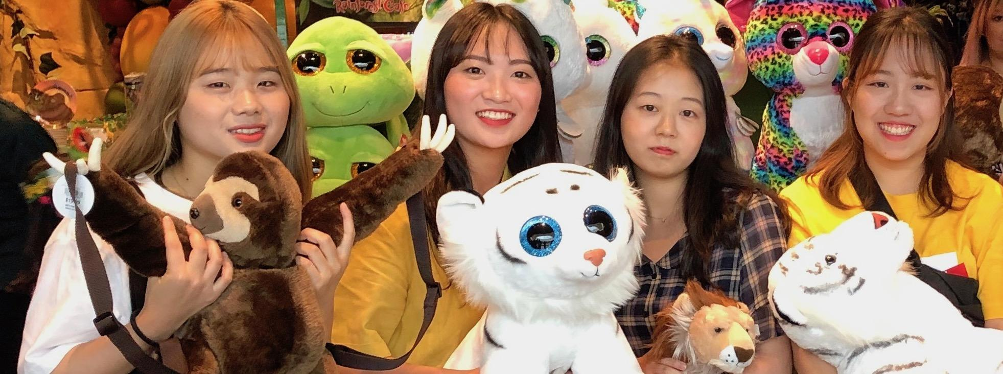Korean students at the Rainforest Cafe in the Mall of America