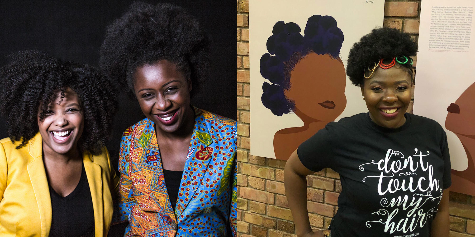 Left photo: Terresa Moses and Sandra Oyinloye. Right photo: Vaughnetta Ngaling next to the art that matches her hairstyle.
