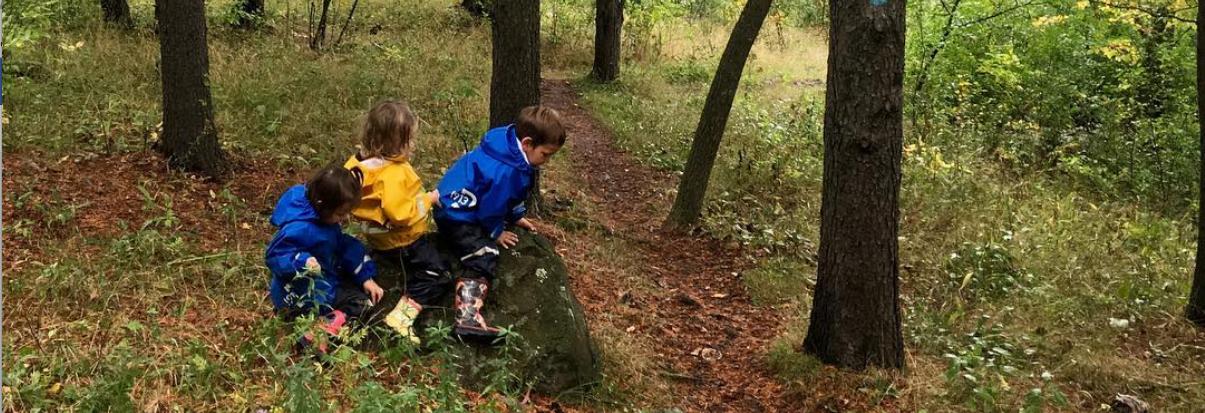 Children climb on rock.