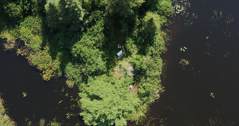Drone shot of Boulder Lake Environmental Learning Center