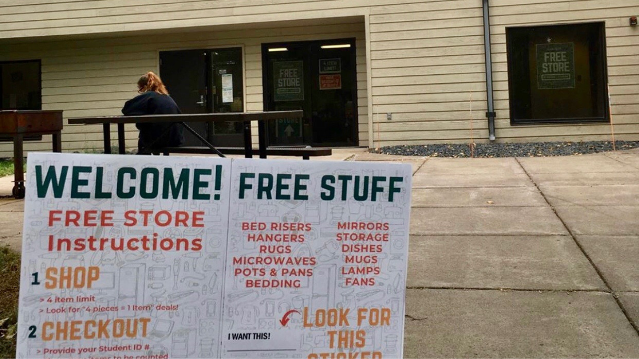 Exterior of Free Store with someone waiting in line
