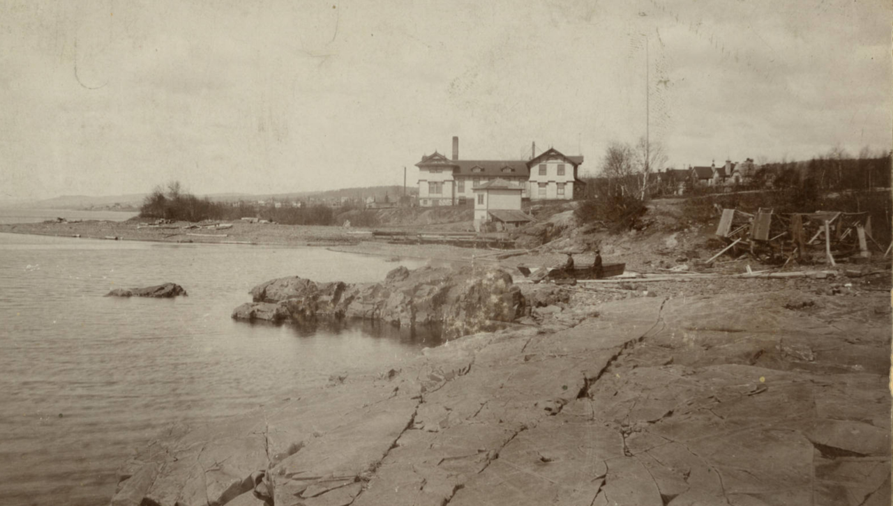 Historic image of the Fish Hatchery from the shoreline